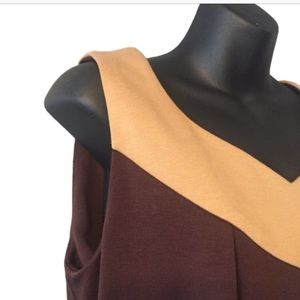 Sandra Darren Dresses - Sandra Darren Brown and Tan Sleeveless Dress